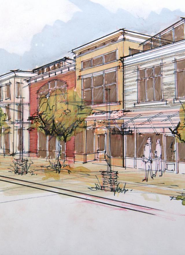 gretna downtown streetscape drawing
