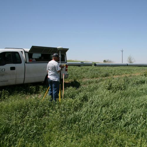 Surveyors mapping in green field