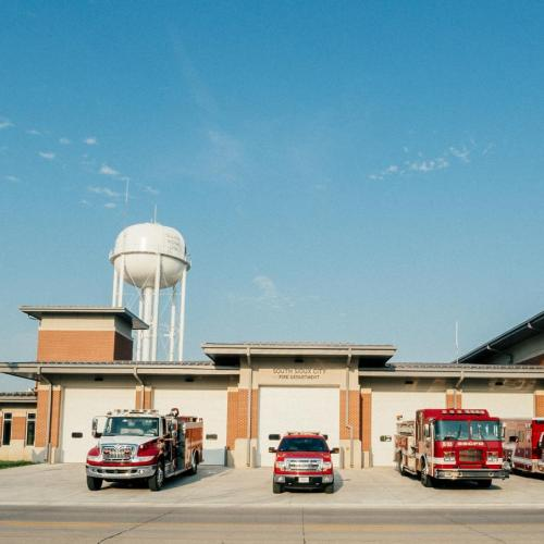South Sioux City Fire Station from the front with fire trucks