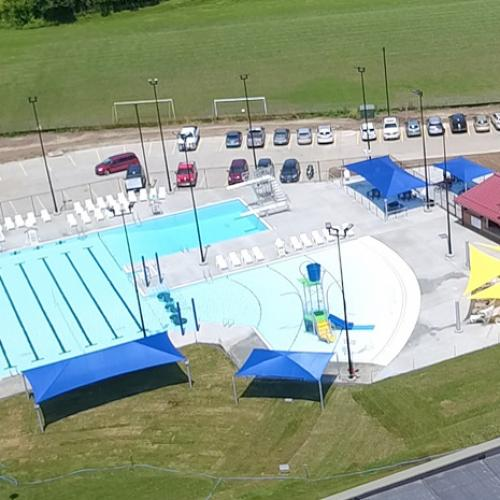 An aerial view of a large pool